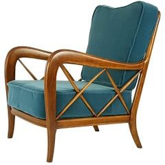 Italian Wooden & Mid Blue Velvet 1940s Armchair Attributed to Paolo Buffa