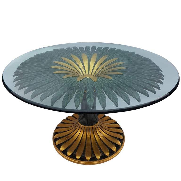 Italian Wooden Palm Tree Flower Dining Table For