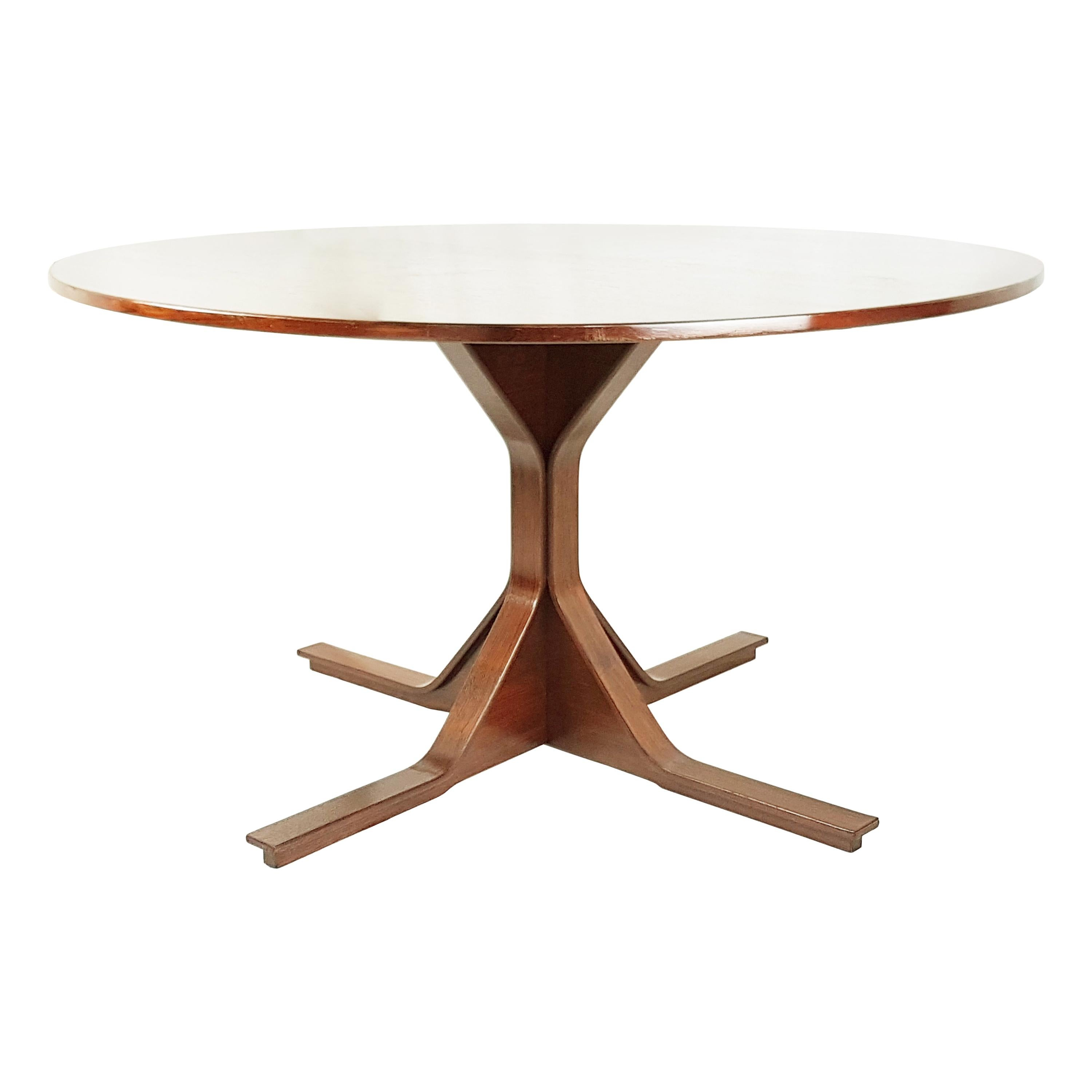 Italian Wooden Round, 1960s Dining Table by Gianfranco Frattini for Bernini