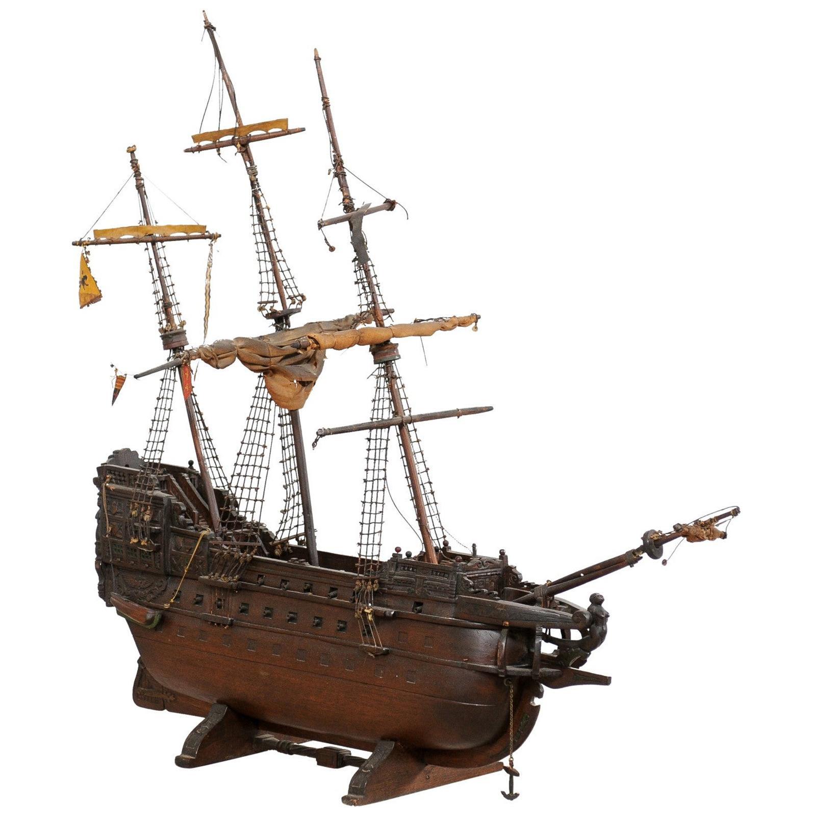 Italian Wooden Ship Model of a 15th/16th C. Galleon, Tall Ship, 3-Masat Schooner