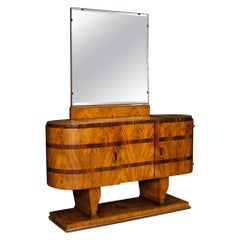 Italian Wooden Sideboard with Mirror in Art Deco Style from 20th Century
