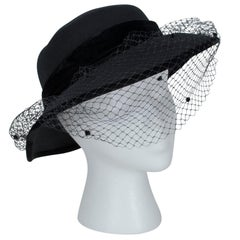 Italian Wool Brimmed Capeline Hat with Dotted Veil, 1970s