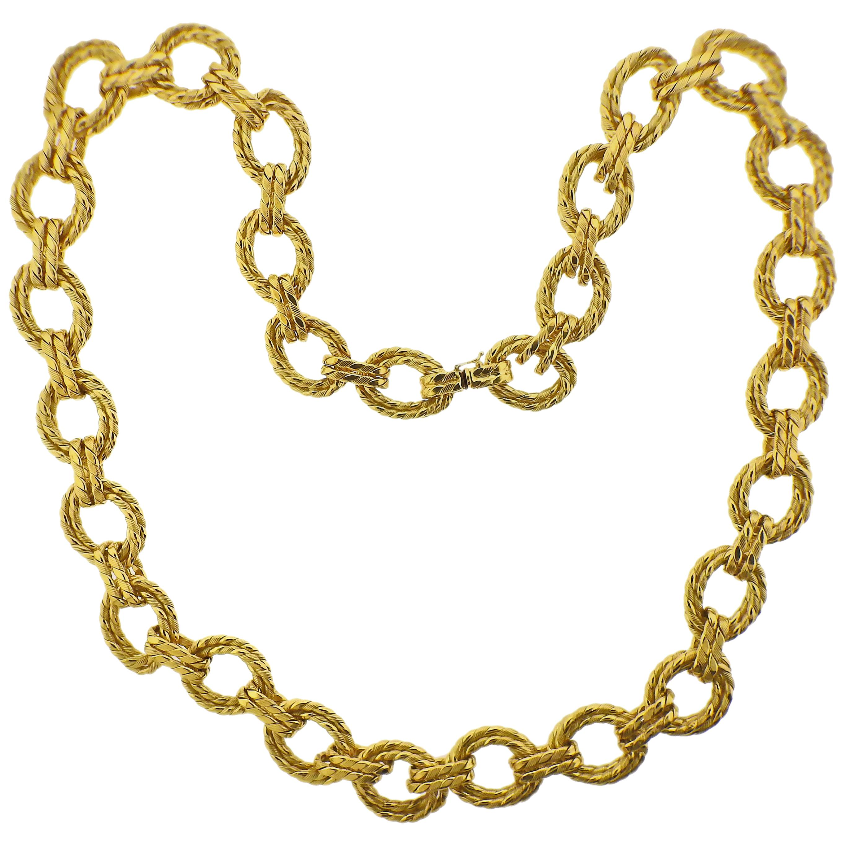 Italian Woven Link Yellow Gold Necklace