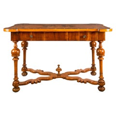 Italian Writing Desk Table, Venice, 17th Century, Venetian Walnut Wood Inlay