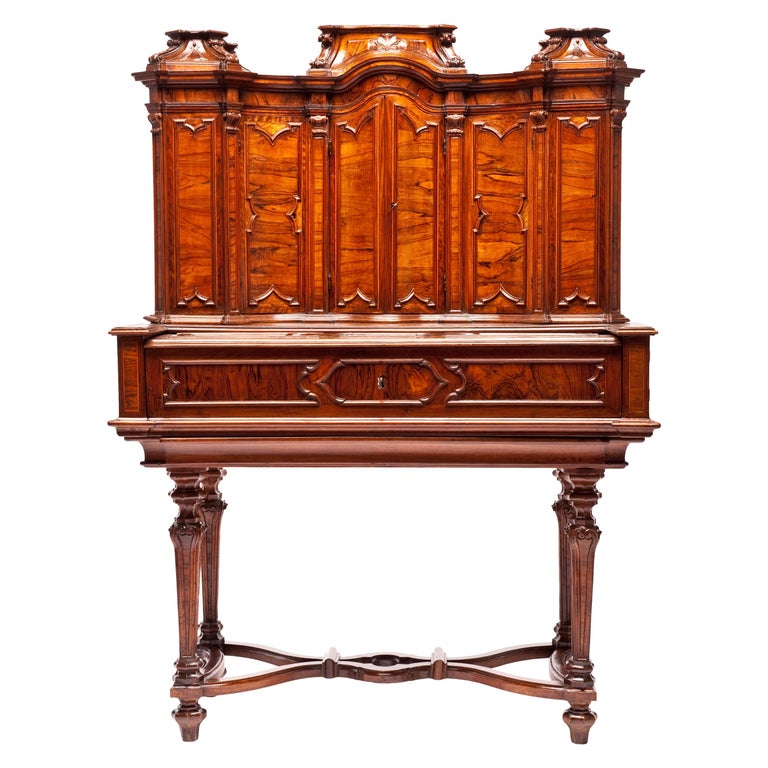 Italian Writing Desk with Upper Cabinet, Milan, circa 1730 For Sale