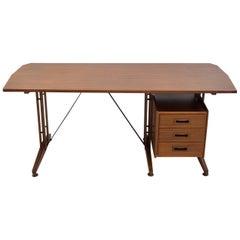 Italienischer Schreibtisch aus Teak und bemaltem Metall, um 1960