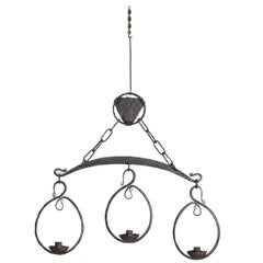 Italian Wrought Iron 3-Light Chandelier, 20th Century