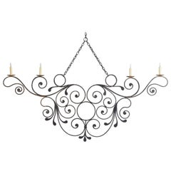 Italian Wrought Iron 4-Light Horizontal Chandelier, Mid-19th Century