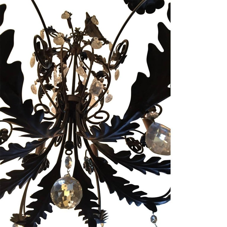Other Italian Wrought Iron and Crystal Chandelier For Sale