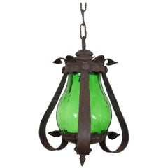 Italian Wrought Iron and Green Glass One Light Lantern, UL Wired
