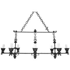Italian Wrought Iron and Painted Horizontal Eight-Light Chandelier, circa 1900