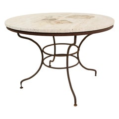 Italian Wrought Iron and Stone Table, circa 1940