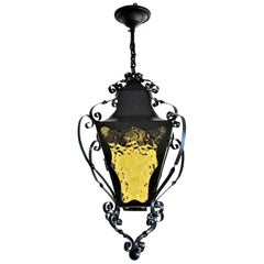Italian Wrought Iron and Yellow Glass Lantern for Indoor or Outdoor