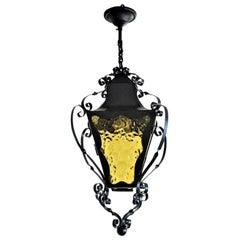 Italian Wrought Iron and Yellow Stained Glass Lantern for Indoor or Outdoor