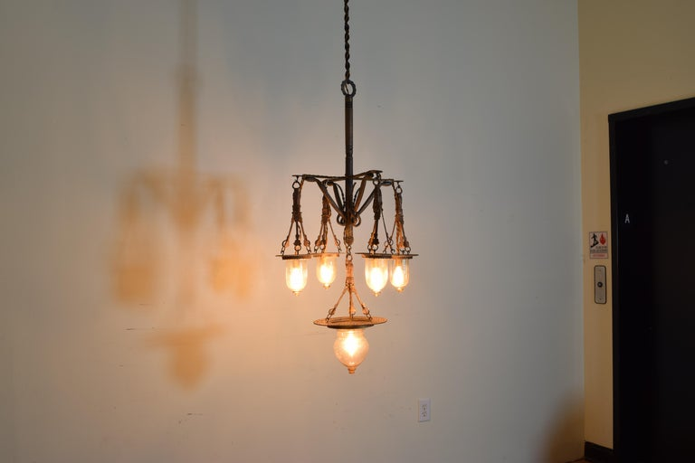 Italian Wrought Iron and Blown Glass 5-Light Lantern Chandelier, 19th Century In Excellent Condition For Sale In Atlanta, GA