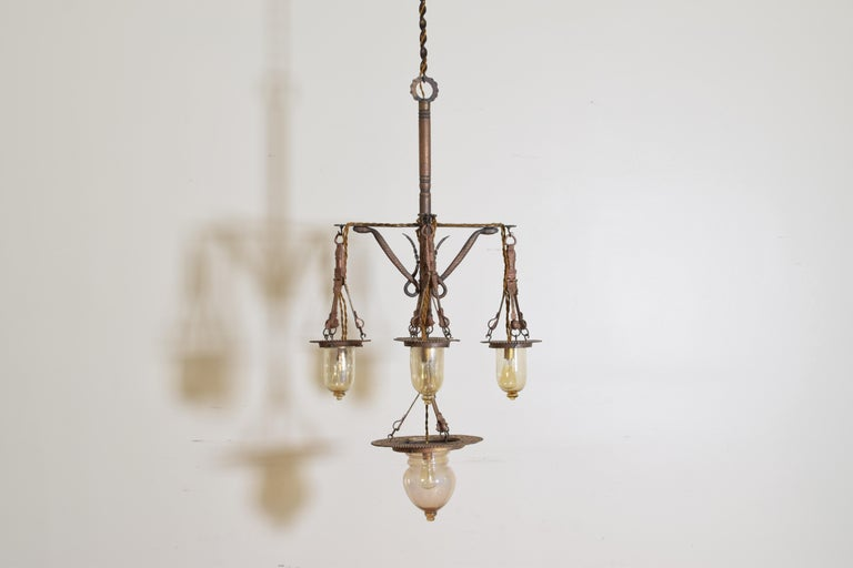 Mid-19th Century Italian Wrought Iron and Blown Glass 5-Light Lantern Chandelier, 19th Century For Sale