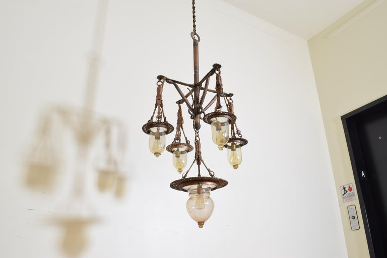 Italian Wrought Iron and Blown Glass 5-Light Lantern Chandelier, 19th Century For Sale 1