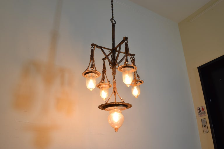 Italian Wrought Iron and Blown Glass 5-Light Lantern Chandelier, 19th Century For Sale 2