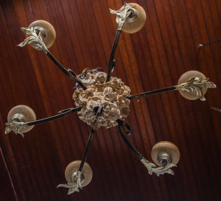 Italian Wrought Iron and Carved Wood Fruit Chandelier For Sale 6