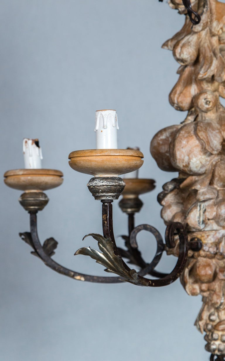 Italian Wrought Iron and Carved Wood Fruit Chandelier In Distressed Condition For Sale In Stamford, CT