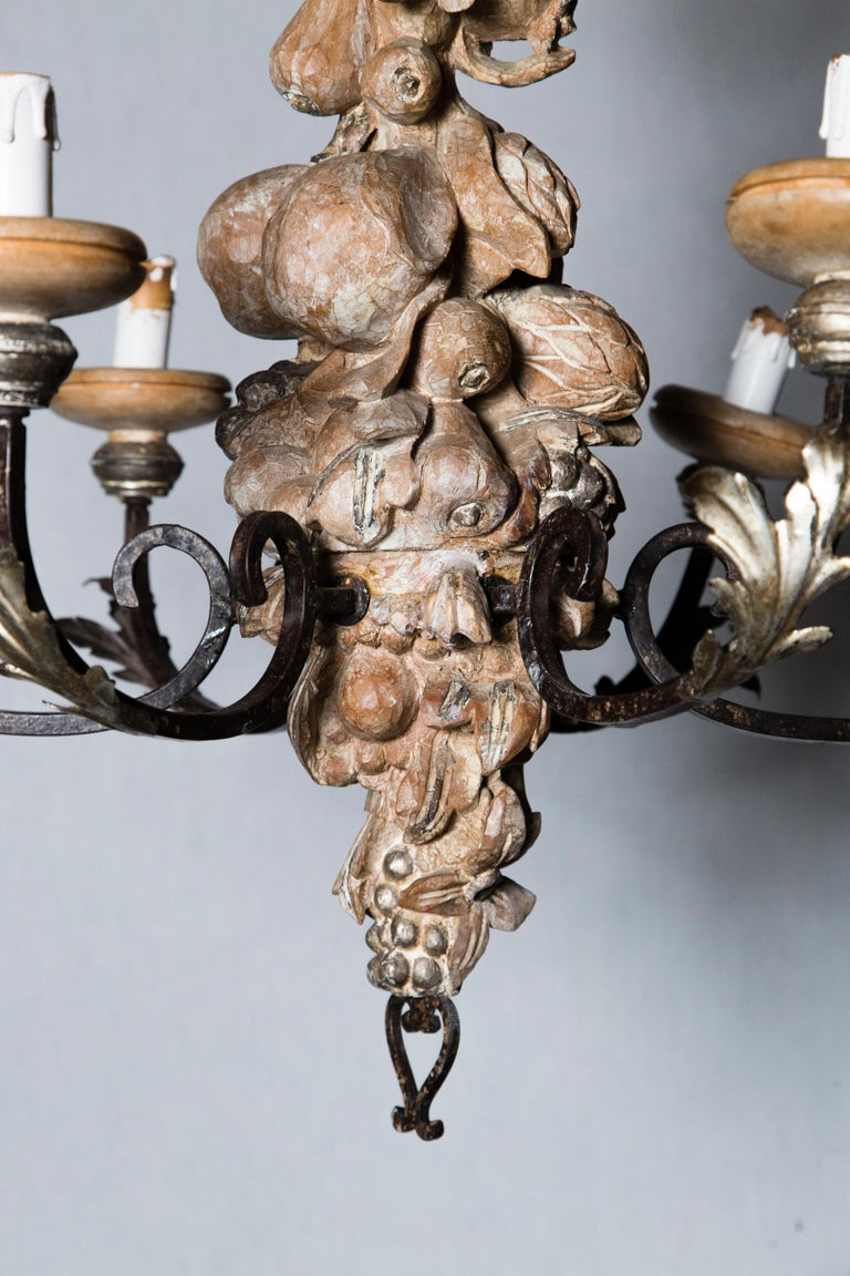 Mid-20th Century Italian Wrought Iron and Carved Wood Fruit Chandelier For Sale