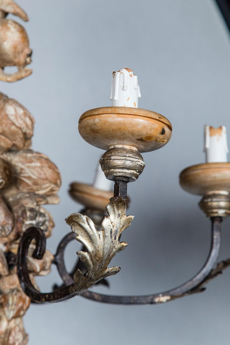 Italian Wrought Iron and Carved Wood Fruit Chandelier For Sale 1