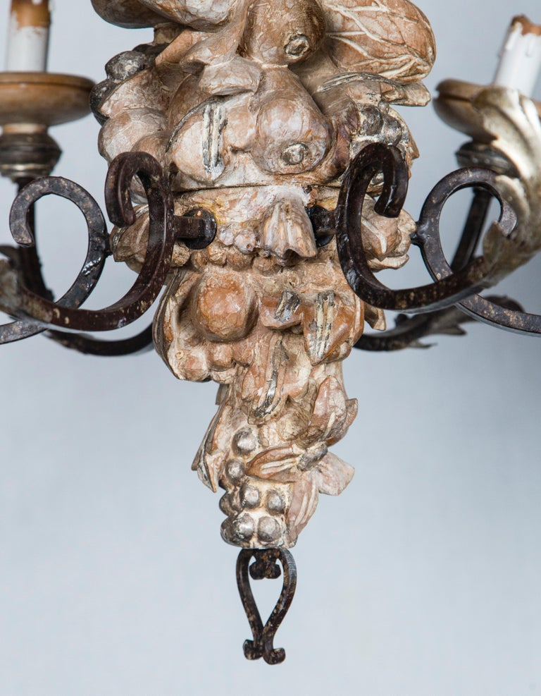 Italian Wrought Iron and Carved Wood Fruit Chandelier For Sale 3