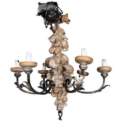 Italian Wrought Iron and Carved Wood Fruit Chandelier