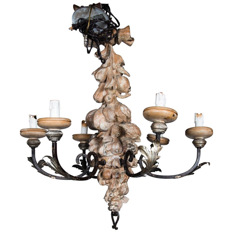 Italian Wrought Iron and Carved Wood Fruit Chandelier For Sale