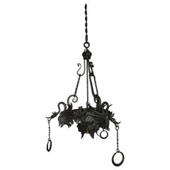 Italian Wrought Iron Dragon, Medieval Chandelier, circa 1920