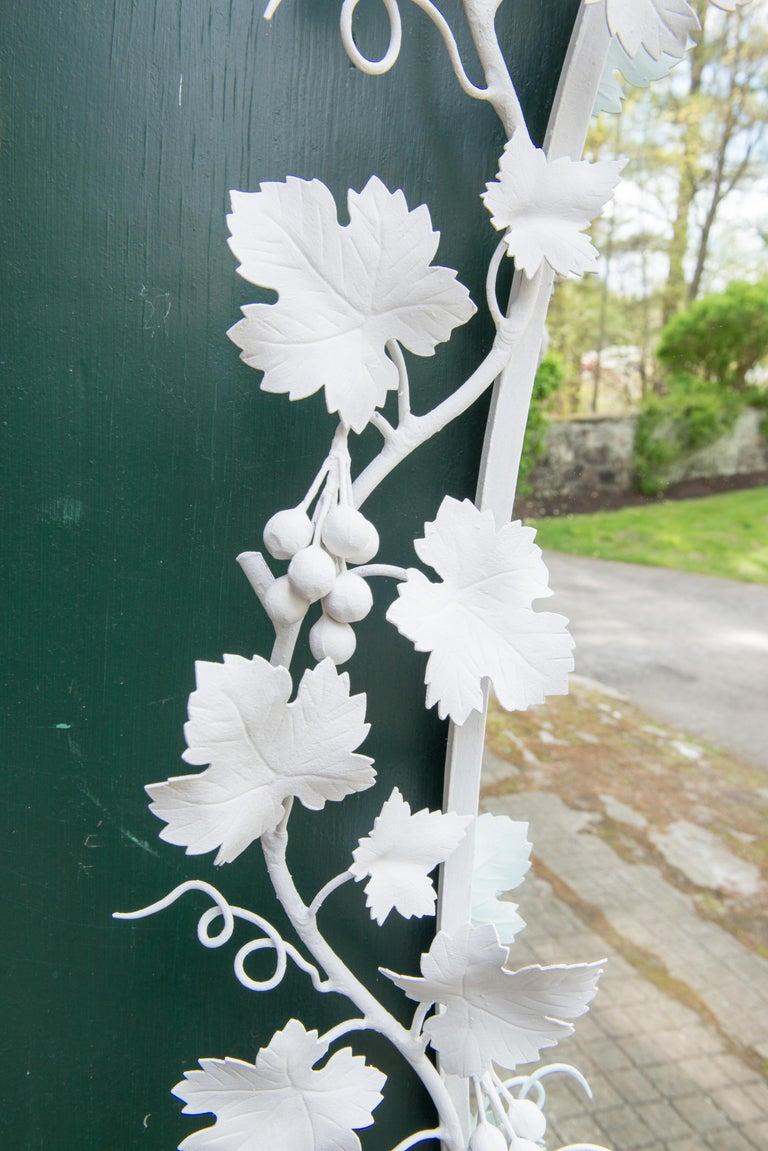 Italian Wrought Iron Grape Vine White Painted Mirror For Sale 6