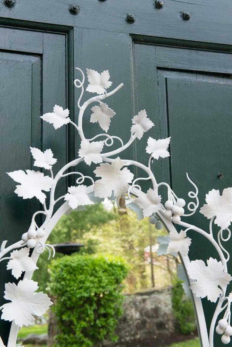 Mid-20th Century Italian Wrought Iron Grape Vine White Painted Mirror For Sale