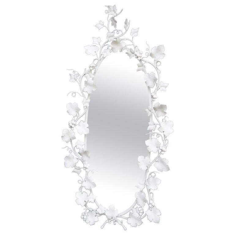 Italian Wrought Iron Grape Vine White Painted Mirror For Sale