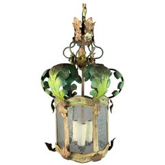 Italian Wrought Iron Painted Lantern, circa 1920