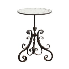 Italian Wrought-Iron Pedestal Side Table with Antique Mirror Top, circa 1870