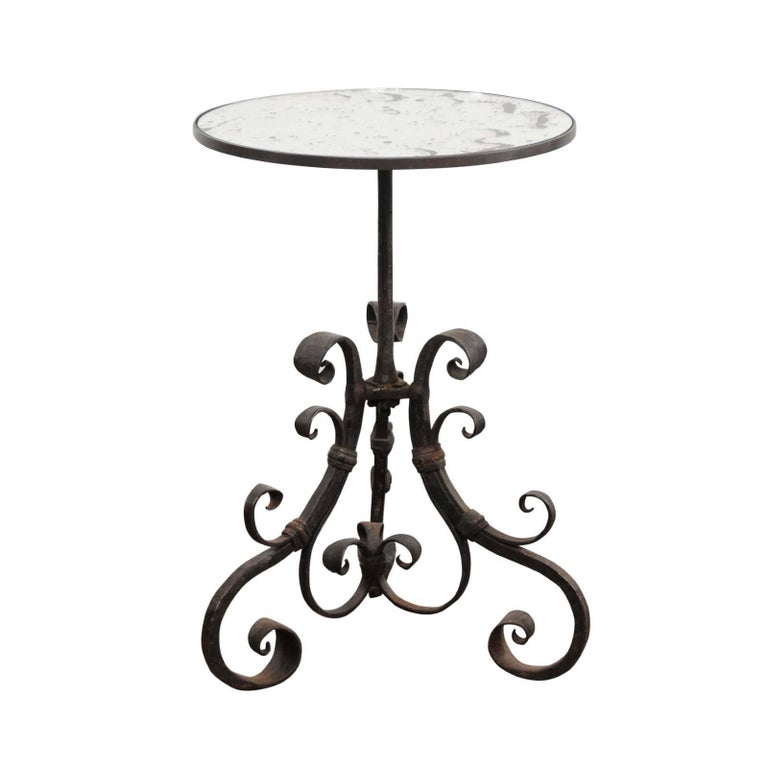 Italian Wrought Iron Pedestal Side Table With Antique Mirror Top