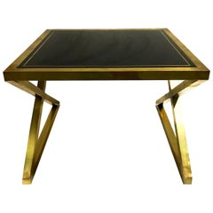 Italian X-Frame Side Tables, Pair, Bronze with Black Murano Glass Mirror Top