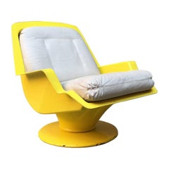 Italian Yellow Abs and Beige Leather Space Age Armchair, 1970s
