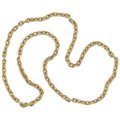 Italian Yellow and White Gold Heavy Braided Chain, circa 1960