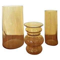 Italian Yellow Blown Murano Glass Vases by Carlo Nason, 1970s