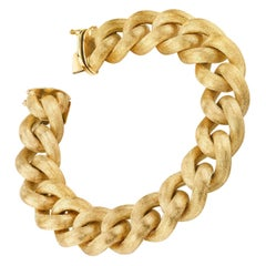 Italian Yellow Gold Brushed Finish Link Bracelet, 55 Grams