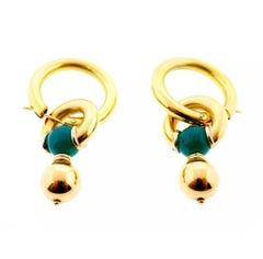 Italian Yellow Gold Chrysoprase Interchangeable Earrings