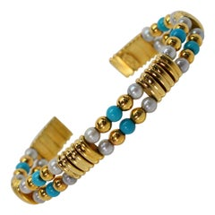 Italian 18 Karat Yellow Gold Cuff Bracelet with Turquoise Pearl Accents