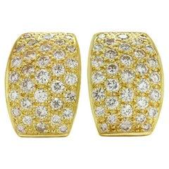 Italian Yellow Gold Diamond Earrings
