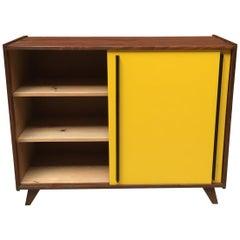 Italian Yellow Matt Formica and Black Wood Kitchen Sideboard, 1960s