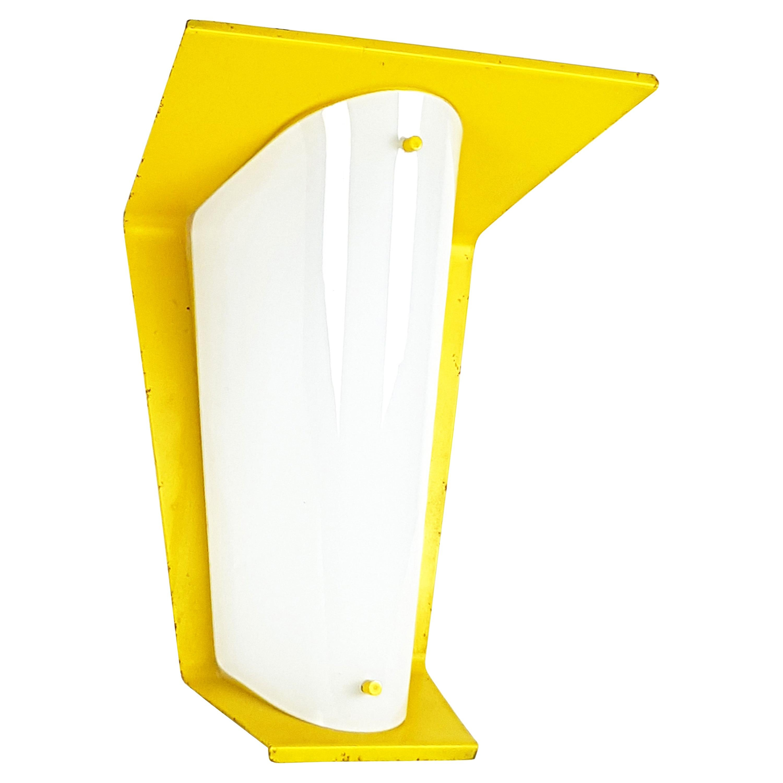 Italian Yellow Metal and Opaline Glass Wall Lamp, 1960s
