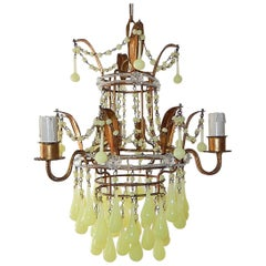 Italian Yellow Opaline Crystal Beaded Murano Drops Chandelier