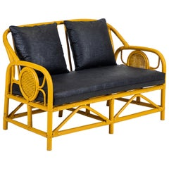 Italian Yellow Painted Bamboo Settee and Pair of Chairs