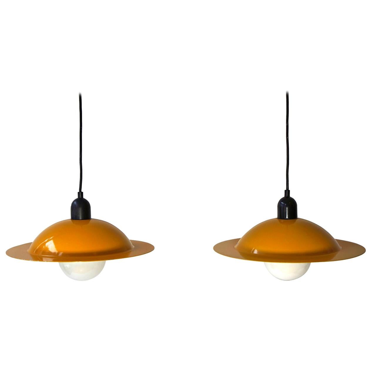 Italian Yellow Pendant Lights by Stilnovo