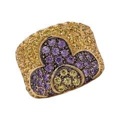 Italian Yellow & Purple Sapphire 18 Karat Yellow Gold Floral Wide Band Ring